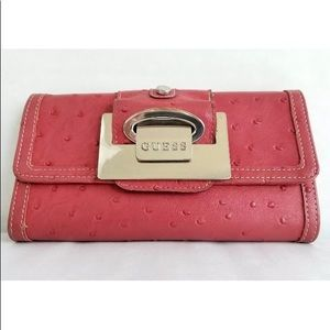 Vintage Guess Large Trifold pink wallet